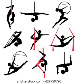 Silhouettes of a gymnastic girl. Vector illustrations set on white background