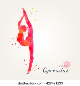 Silhouettes of a gymnastic girl. Vector watercolor illustration on a paper background