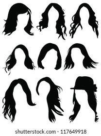 Silhouettes of hair styling-vector