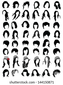 Silhouettes of hair styling-vector illustration