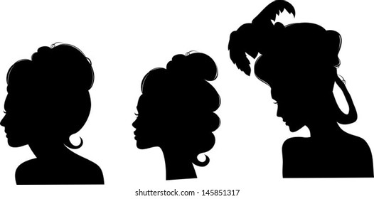 Silhouettes of hairstyles of the 19th century