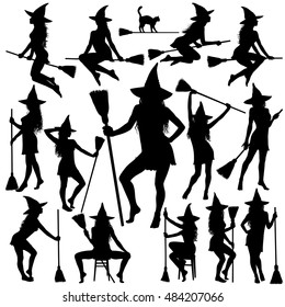 Silhouettes of Halloween witches in standing, sitting poses and flying on broomstick. Collection of beautiful young sexy witch vector icons for Halloween design.