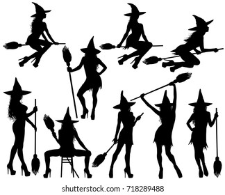 Silhouettes of Halloween witches in standing, sitting poses and flying on broomstick. Collection of beautiful young sexy witches in hat and shoes with high heel vector icons for Halloween design.