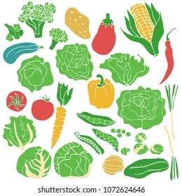 Silhouettes of hand drawn vegetables collection in limited color palette. Vector illustration