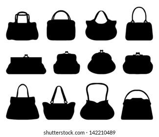 Silhouettes of handbags-vector