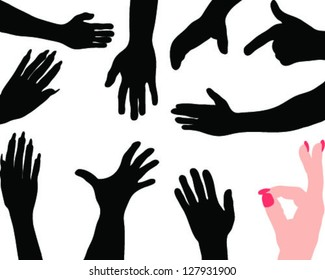 Silhouettes hands 4-vector