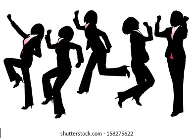 Silhouettes of Happy Excited Business woman with white background