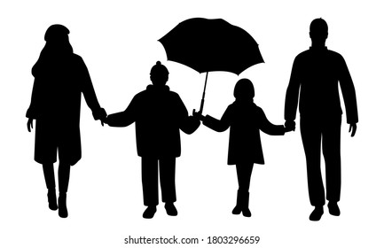 Silhouettes of happy family isolated on white background. Mom, dad, son and daughter are holding hands. Vector illustration