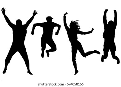 Silhouettes of happy people jumping