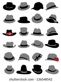 Silhouettes of hats-vector