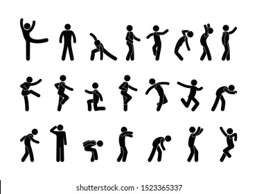 silhouettes of having fun people, funny dancing, isolated stick figure man icons