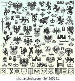 Silhouettes Of Heraldic Design Elements. Big Vector Illustration Set