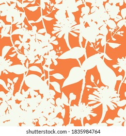 Silhouettes of herbs and meadow wildflowers. Botanical seamless pattern. Modern summer background in nature motif. Floral shadows. Imprint plants. Designed for fabric, print for dress, clothes.