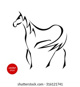 Silhouettes of horse with beautiful mane isolated on white background. Vector illustration.