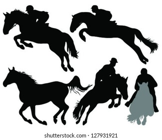 Silhouettes of horses 3 -vector