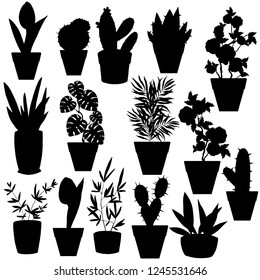 silhouettes of houseplants in black color