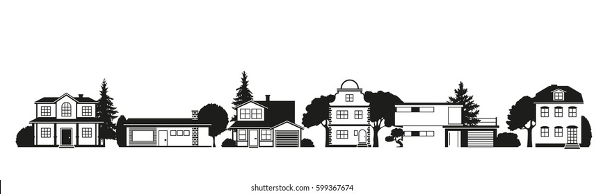 Silhouettes of houses of different architectural styles on suburban street