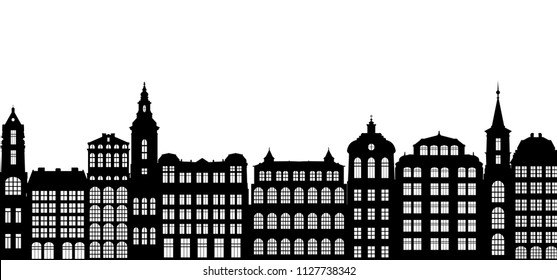 silhouettes of houses, urban vector background, old european city, hand drawn illustration