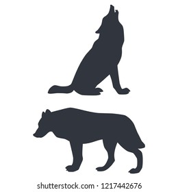 Silhouettes of of howling and walking wolves isolated on white background. Vector illustration EPS 8