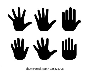 Silhouettes of human open palm vector set isolated on white background