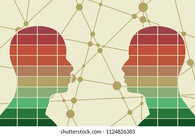 Silhouettes of a humans head. Scientific medical designs. Human communication. Mechanical engineering drawing background. Lines and dots background