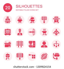 silhouettes icon set. Collection of 20 filled silhouettes icons included Grill, Press, Crossbow, Jacuzzi, Bellhop, Cot, Offside, Scuba diving
