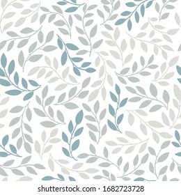 Silhouettes of identical leaves seamless pattern. Vector hand drawn illustration in simple scandinavian doodle cartoon style. Isolated gray-blue branches on a white background.