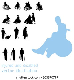 Silhouettes of impaired people.