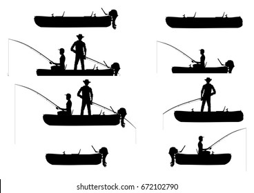 Silhouettes of inflatable boats with anglers. Side view. Flat vector.