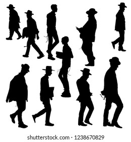 The silhouettes of the Jews in the hat. Collection of silhouettes of Orthodox Jews. Orthodoxy is a Jew. Isolated vector illustration. Isolated background. Black on white.