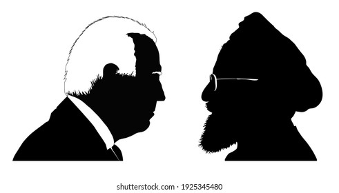 Silhouettes of Joe Biden vs. Hassan Rouhani. Presidents of the United States and Iran. Illustrative for US-Iran tensions. VECTOR ILLUSTRATION. Stafford, United Kingdom - February 26 2021.
