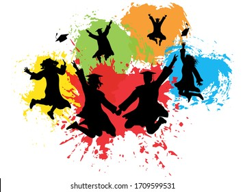 Silhouettes of jumping graduates in square academic caps and mantles on background of colorful splashes. Vector illustration