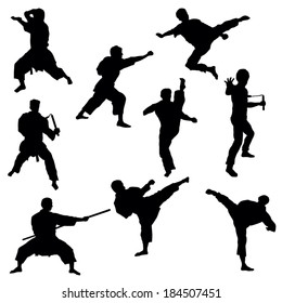 Silhouettes of Karate-Vector Image