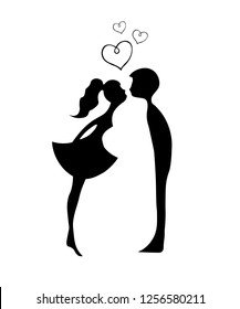 Silhouettes of kissing boy and girl. Kissing couple of young lovers . Romantic couple silhouette. Lovers woman and man kissing.
