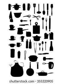 Silhouettes of kitchen items