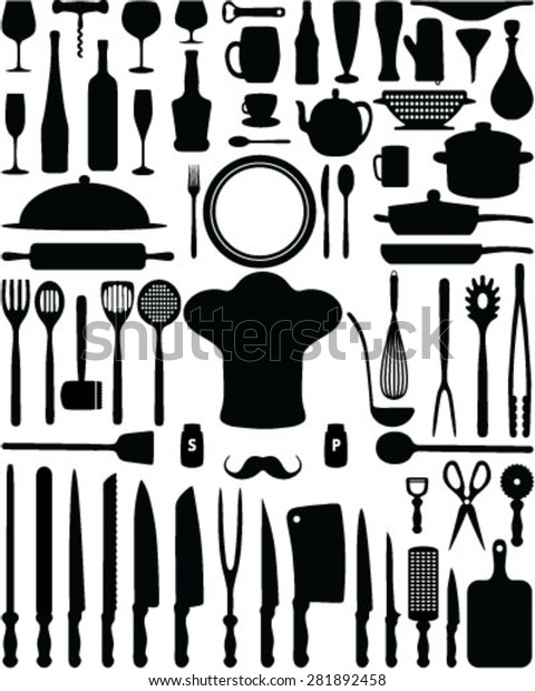 Silhouettes Kitchen Utensils Vector Isolated Background