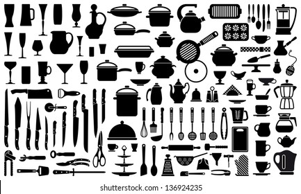 Silhouettes of kitchen ware and utensils
