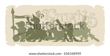 Silhouettes of knights frames 6, vector