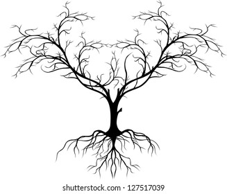 silhouettes of leafless trees rooted