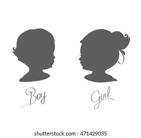 silhouettes of little boys and girls, vector illustration