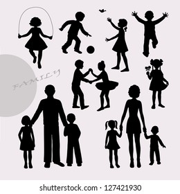 Silhouettes of little children and adult peoples