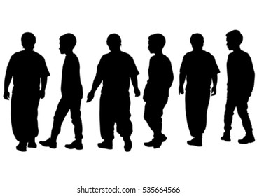 Silhouettes of a little girl and boy on a white background