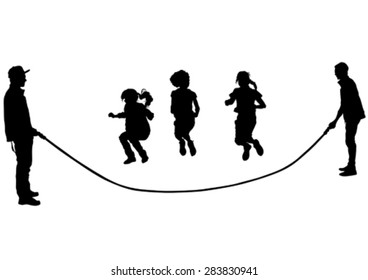 Silhouettes of a little girl in a dress on a white background