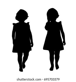 Silhouettes of a little girl, vector, standing, black color, isolated on white background