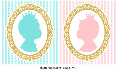 Silhouettes of little princess and prince