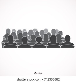 Silhouettes of Male, Female, Audience.