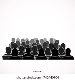 Silhouettes of Male, Female, Audiences. icon isolated on white background
