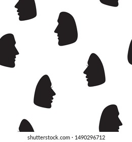 Silhouettes of male and female faces in profile. Vector black icons on a white background. Seamless pattern.