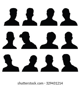 Silhouettes of male head in frontal with different hairstyles