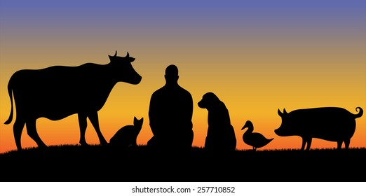 Silhouettes of man with many animals